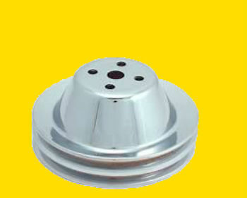 Small Block Chevy Sbc 283 350 Chrome Steel 2 Groove Upper Pulley Long Water Pump