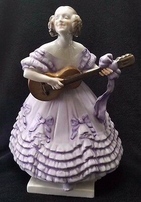 Large Herend Lady Playing Guitar Purple Ruffled Floral Dress Figurine - Rare!!