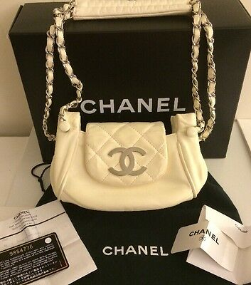 authentic chanel white classic bag w/ flap sac class rabat silver strap chains