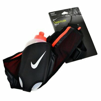 Nike Large Flask Hydration Running Belt With One 20oz Water Bottle, Black X Red