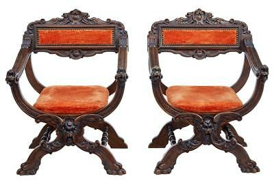 Pair Of 19th Century Italian Carved Walnut Savonarola Chairs
