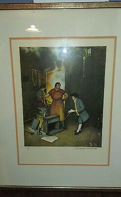 Norman Rockwell ( Blacksmith Shop ) Signed Lithograph / Numbered
