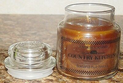 Yankee 3.7 Oz. Glass Jar Small Banana Nut Bread Country Kitchen Candle New
