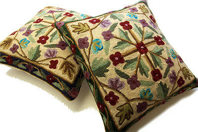 Setof2 100%wool Crewel Kashmiri Floral Spring Decorative Cushion Throw Pillow