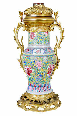 Decorative 19th Century Chinese Porcelain And Gilt Lamp