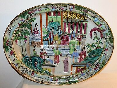 Large Chinese Canton Famille Rose Pottery Roast Beef Platter Tray 19th Century