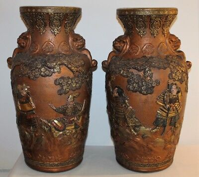 Pair Of Japanese Vases Satsuma Polychrome Terracotta - 19th Century