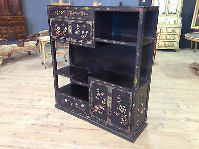 Bookcase Furniture Shelves Wood Lacquered Painted Pietra Dura Chinese