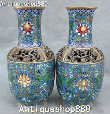 Marked Purple Bronze Cloisonne Enamel Gilt Vase Pitcher Bottle Kettle Jar Pair