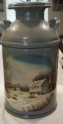 """Vintage Farm Dairy 24""""t Cream Jug Hand-painted With Handles - Chocolate Co."""