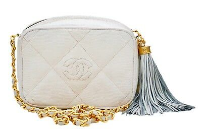 Authentic Chanel Vintage White Lizard Quilted Camera Handbag