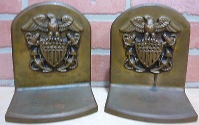 Antique Brass American Eagle Shield Crest Anchors Navy Decorative Art Bookends