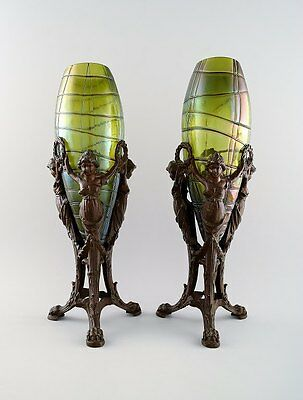 Palme König: A Pair Of Art Nouveau Vases Of Irritated, Frosted Clear Green Glass