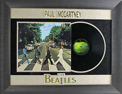 paul mccartney authentic signed and framed beatles abbey road album psa #z05387