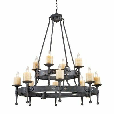 """Old World Restoration Tuscan Chandelier Forged Iron Genuine Stone Candles 44"""""""