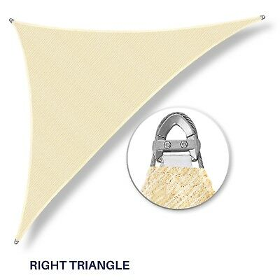 Beige 32-48ft Triangle Heavy Duty Steel Cable Wire Sun Shade Sail Patio Pool