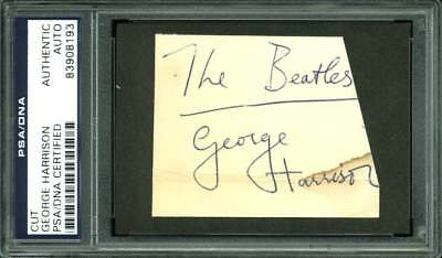 george harrison the beatles authentic signed 2.25x3 cut signature psa slabbed