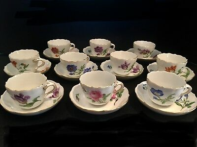 antique meissen crossed swords hand painted (10) demitasse cups and saucers