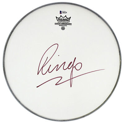 ringo starr the beatles authentic signed 12 inch remo drum head bas #a88330