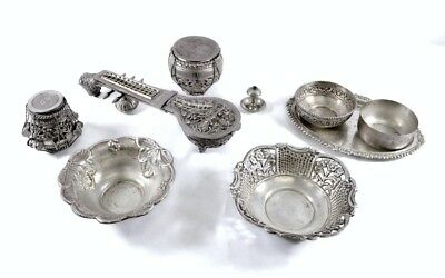 Lot Of Antique Middle Eastern Silver Bowls, Jars, Ornate Sitar Box - 1274 Grams