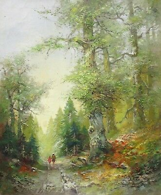 Mother And Girl Walking Through Forest - Summer (rolf Marec Oil On Canvas)