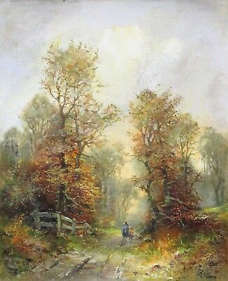 Mother And Girl Walking Through Forest - Autumn (rolf Marec Oil On Canvas)