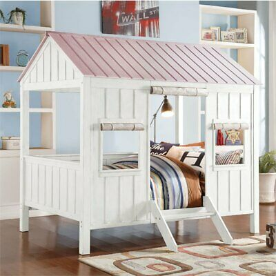 Rosebery Kids Full House Bed In White And Pink