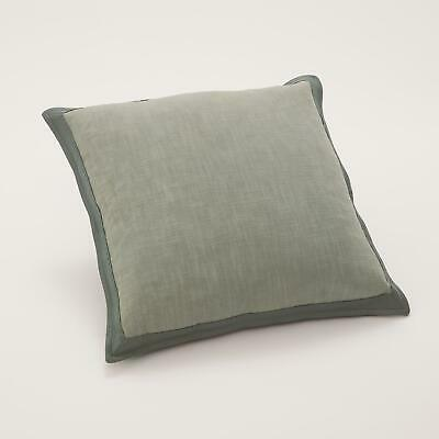Soft Forest Green Elegant Neutral Throw Pillow   Natural Linen Leather Frame