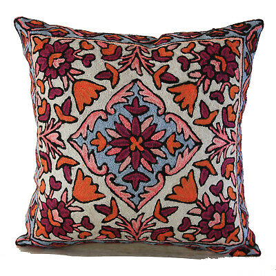 100% Wool Crewel Jacobean Botanical Floral Decorative Cushion Throw Pillow