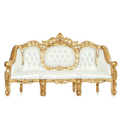 """""""royal King James """" Wedding Accent Ormolu Hand Carved Party Sofa - White / Gold"""
