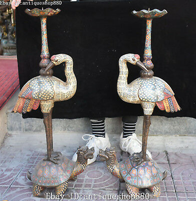 "29"" Old Cloisonne Enamel Crane Bird Dragon Turtle Candle Holder Candlestick Pair"