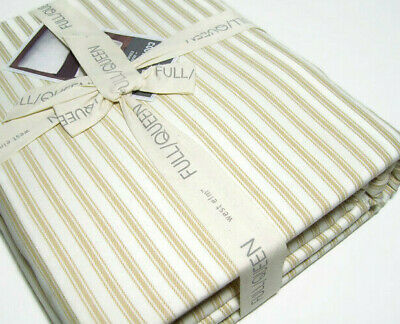 West Elm Ticking Stripe Cotton Straw Brown Full Queen Duvet Cover 2 Shams New
