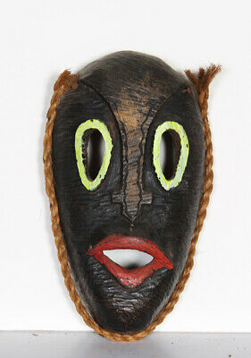 Mask With Green Eyes And Red Lips (25), Hand-carved And Painted