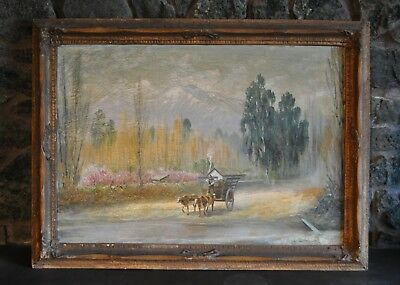 Lg Painting Country Landscape Oxen Cart - Chile - Harald Kurt Knut Ekwall 1873-