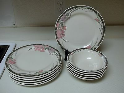 Gibson Housewares Gray & Pink Flowers ~ Dinner Plates & Bowls 11 Pieces
