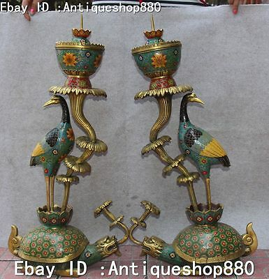 Cloisonne Enamel Gilt Crane Stand Dragon Tortoise Turtle Oil Lamp Candle Stick