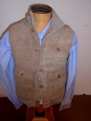 ralph lauren purple label suede down fill quilted vest nwt small $2495 antelope