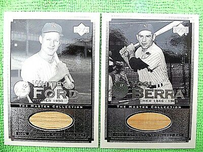 Yogi Berra & Whitey Ford 2000 Ud Yankee Master Collection Gu 2 Bat Cards 157/500