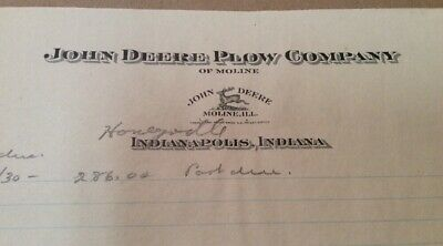 1930s John Deere Plow Company Letterhead Indianapolis Indiana Inv-p102