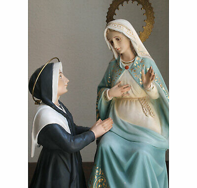 "Marian Apparition St Catherine Labouré & Virgin Mary 17.7 "" Religious Antique"
