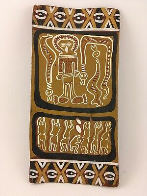 Unreal Pair! Aboriginal Bark Painting Authentic With  X Shape Boomerang Vintage