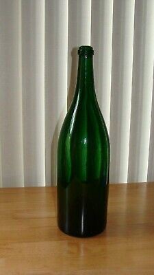 Vintage Extra Large Heavy Deep Green Wine Bottle Made In France