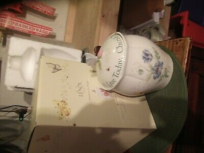 """Lenox Butterfly Meadows Cookie Jar """"cherish Yesterday, Dream Tomorrow And Live T"""