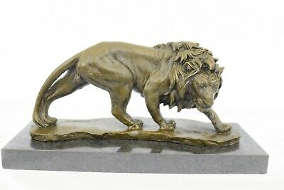 Art Decor Hot Cast African Lion Walking Very Detailed Bronze Sculpture Statue Nr