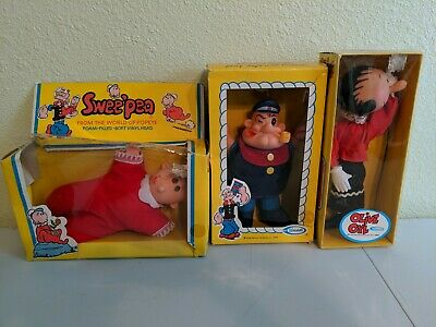Vintage Popeye Doll 1979 Uneeda King Plush Sweet Pea Olive Oyl New In Box Rare