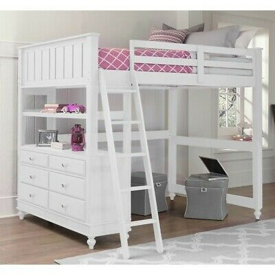 Ne Kids Lake House Full Loft Bed In White