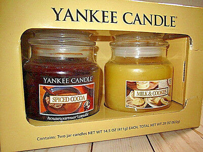 Yankee Candle Milk & Cookies And Spiced Cocoa Set Limited Release 14.5 Oz Each