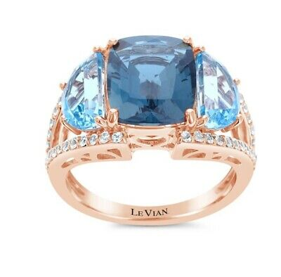 New! 14k Gold, Topaz & Vanilla Sapphire Ring By Levian/ Size 7 / Msrp $3,340
