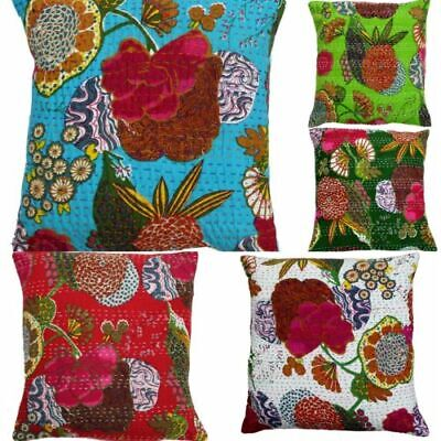 100 Pcs Pillow Cover Throw Kantha Cushion Indian Pillows Gypsy Pillow Boho 16""