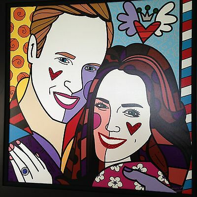 "Romero Britto - Very Rare - William & Kate, Le, ""real Love, Blue"" Hand Signed"